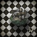 Steampunk time warp bubble on chequered background
