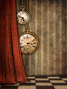 Steampunk watches and a curtain Stock Photo