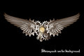 Steampunk wings and gears background Royalty Free Stock Photo
