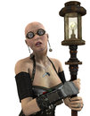 Steampunk Woman with lantern Royalty Free Stock Images