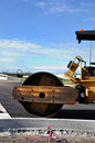 Steamroller at Road Construction Site Royalty Free Stock Photo