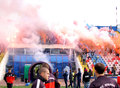 Steaua bucharest footbal fans cheering with smoke bombs s football sing and light and flares at the last training of the team Stock Photos
