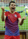 Steaua bucharest s raul rusescu goal celebration of celebrates after he scored a during a romanian league football game Stock Photo