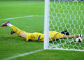 Steaua bucharest vardar skopje uefa champions league s goalkeeper igor pavlovic tries to stop the ball from a goal during the Stock Photo