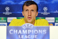 Steaua bucharest vlad chiriches press conference s pictured during the official held before uefa champions league play offs game Royalty Free Stock Images