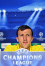 Steaua bucharest vlad chiriches press conference s pictured during the official held before uefa champions league play offs game Royalty Free Stock Photo