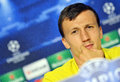 Steaua bucharest vlad chiriches press conference s pictured during the official held before uefa champions league play offs game Stock Images