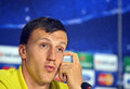 Steaua bucharest vlad chiriches press conference s pictured during the official held before uefa champions league play offs game Stock Photo
