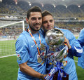 Steaua bucharest wins romanias league cup players nicusor stanciu l and adrian popa r celebrates after winning edition in a win Royalty Free Stock Photos
