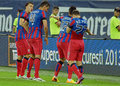Steaua players celebrating goal celebrate a during the romanian supercup between bucharesta and petrolul ploiesti won Royalty Free Stock Images