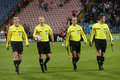 Steaua vs Napoli referees Stock Photography