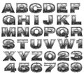 Steel alphabet set Royalty Free Stock Image