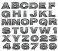Steel alphabet set Royalty Free Stock Photography