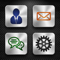 Steel app icons set Stock Photos