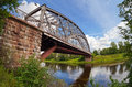 Steel Arch Bridge on river Msta Royalty Free Stock Photo