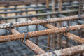 Steel bars with wire rod for reinforcement of concrete or cement. Royalty Free Stock Photo