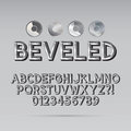 Steel beveled outline font and digit eps vector editable for any background Stock Photo