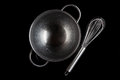 Steel bowl with whisker from above with reflection black stainless metal aside on background directly Royalty Free Stock Photography