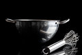 Steel bowl with whisker from side with reflection black stainless metal aside on background Royalty Free Stock Images