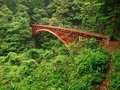 Steel bridge in the mountains in japan red Stock Photography