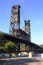 Steel bridge & park, Portland OR. Stock Photos