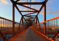 Steel bridge for people Royalty Free Stock Photo