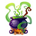 Steel cauldron with boiling green magic potion isolated on white background. Sketch for a poster or card for the holiday Royalty Free Stock Photo