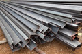 Steel channel steel c chanel at construction site Royalty Free Stock Photo