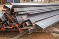 Steel channel steel c chanel at construction site Stock Photo