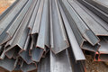 Steel channel steel c chanel at construction site Royalty Free Stock Photos