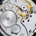 Steel clockwork of old mechanical wristwatch Royalty Free Stock Photo