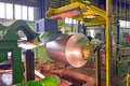 Steel coil processing machine inside of plant Stock Photo