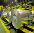Steel coils inside a factory Royalty Free Stock Photo