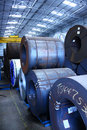 Steel Coils Warehouse Royalty Free Stock Images