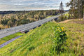 Steel concrete highway bridge crossing russian forest Royalty Free Stock Photo