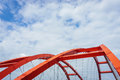 The steel construction of the red bridge Royalty Free Stock Photo