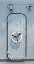 Steel door on battleship Royalty Free Stock Photo