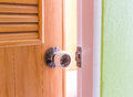 A steel door knob are open Royalty Free Stock Photo