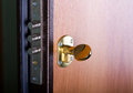 Steel door with lock and key Stock Image