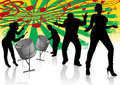 Steel drum calypso street party illustration of two players in silhouettes Royalty Free Stock Images