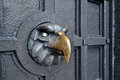 Steel eagle sign on door or fence Royalty Free Stock Images