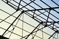 Steel frame of the factory roof in construction Royalty Free Stock Photography