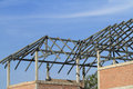 Steel frame of house roof under construction Royalty Free Stock Photography