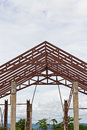Steel frame of house roof under construction Stock Photography