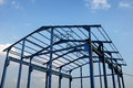 Steel frame of a new industrial building structure Royalty Free Stock Photo
