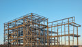 Steel framed building under construction Royalty Free Stock Photo