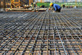Steel framework in construction site,In the construction of large buildings Royalty Free Stock Photo