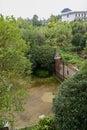 Steel gate of courtyard in verdant summer green