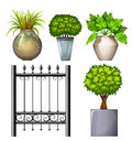 A steel gate and potted plants illustration of on white background Royalty Free Stock Photo