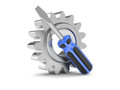 Steel gear and screwdriver tool Stock Images